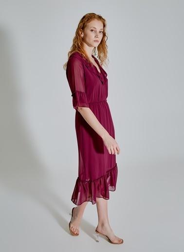 People By Fabrika Volan Detaylı Şifon Elbise Mürdüm